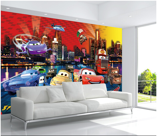Custom Papel DE Parede Infantil Large Murals Cartoon Car For Children Room TV Setting Wall Vinyl Which Papel DE Parede