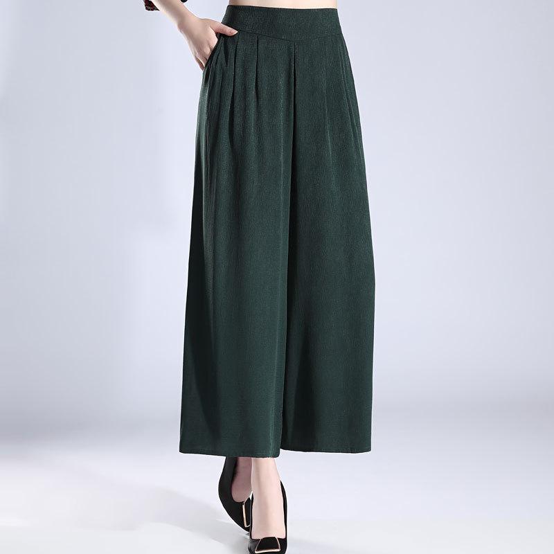Зеленые шелковые широкие брюки fem me женские пляжные богемные офисные повседневные брюки Полная длина 2019 Лето плюс размер свободные - 2