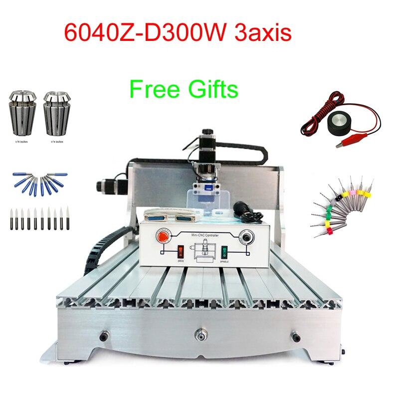 CNC Mini fraiseuse 6040Z-D300 3 axes CNC machine de gravure 300 W mini perceuse à CNC