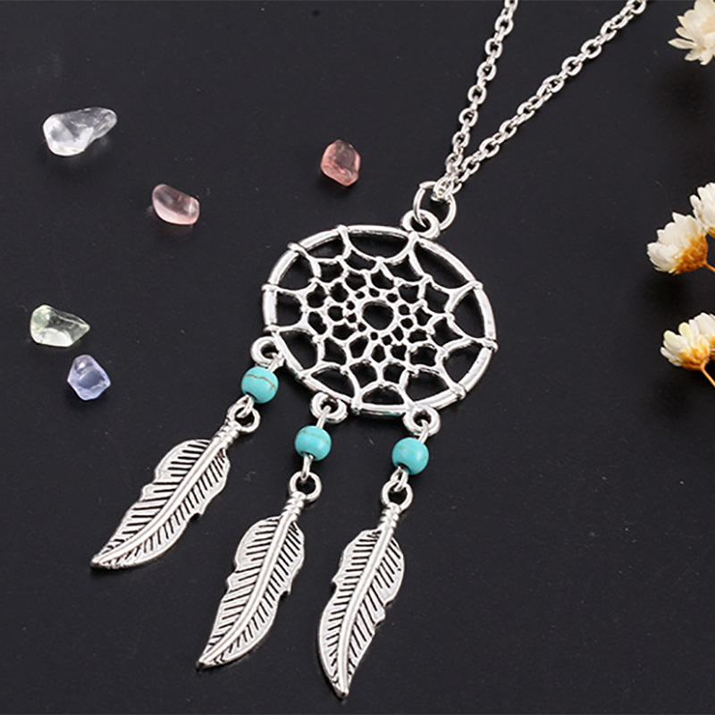 Dream catcher pendant necklace silver color feather wing leaf charm dream catcher pendant necklace silver color feather wing leaf charm blue beads long tassel link chain women dreamcatcher jewelry in pendant necklaces from aloadofball Images