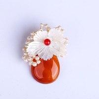 Pearl Double Crystal High Grade Korean Lapel Pin Men Brooch Women S Chestnut Flower Jewelry Scarf
