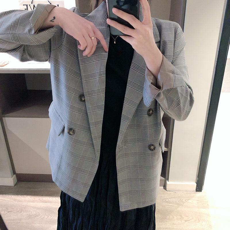 Korean Retro Plaid Small Suit Women
