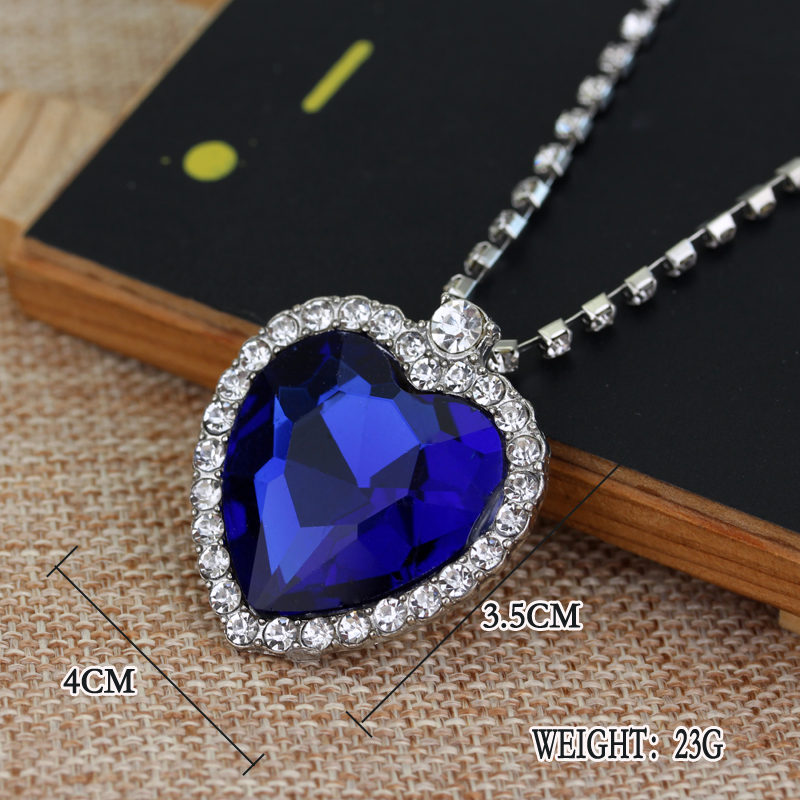 RJ Fashion Film TITANIC Necklace Heart Of the Sea Necklaces With Blue & Red Crystal Chain For Best Gril Women Gift Jewelry