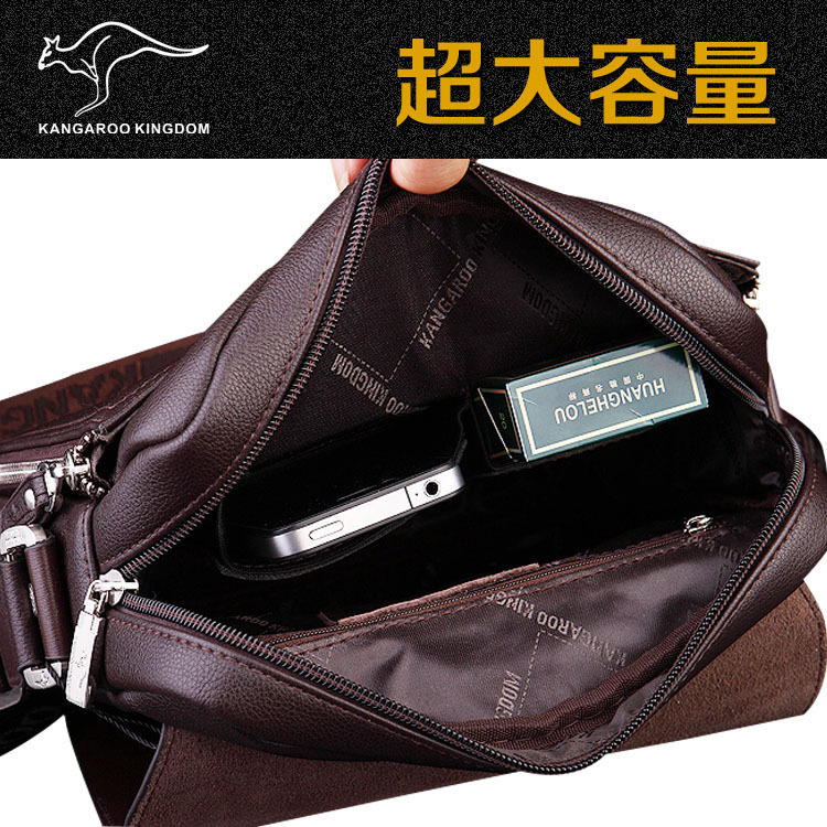 Free shipping Authentic brand composite leather bag casual male shoulder briefcase kangaroo messenger bag men s Free shipping! Authentic brand composite leather bag casual male shoulder briefcase kangaroo messenger bag men's travel bags