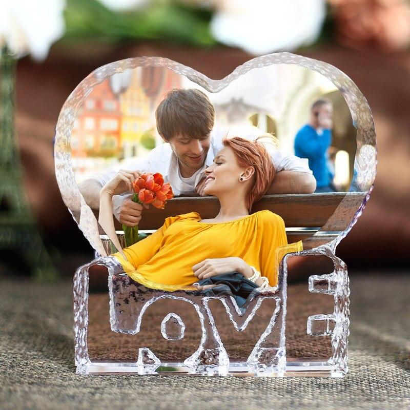 Forma de coração romântico cristal miniatura personalizado personalizado artesanato de vidro presentes de amor diy decoração para casa acessórios