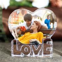Romantic Heart Shape Crystal Miniature Customized Personalized Glass Crafts Love Gifts DIY Home Decoration Accessories