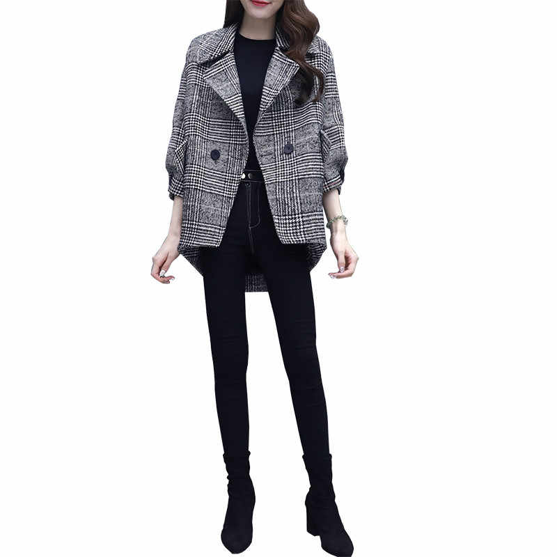 2019 Mùa Xuân Mới Kẻ Sọc Phù Hợp Với Thời Trang Giản Dị Slim Tính Len Áo Khoác Hàn Quốc Đôi Ngực Xu Hướng Blazer K54
