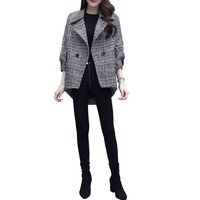 2019 Spring New Plaid Suit Fashion Casual Slim Temperament Woolen Coat Korean Double Breasted Trend Blazer K54