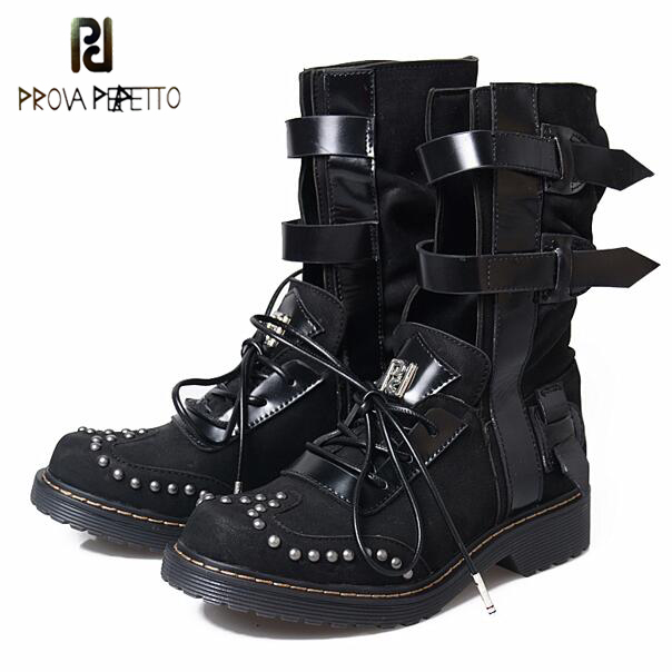 Prova Perfetto Lace Up Round Toe Rivet Stud Low Heels Womens Short Boots Buckle Straps Motocycle Riding Ankle Boots Shoes