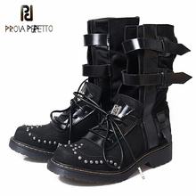 43a9f1a4924 Prova Perfetto Lace Up Round Toe Rivet Stud Low Heels Womens Short Boots  Buckle Straps Motocycle Riding Ankle Boots Shoes