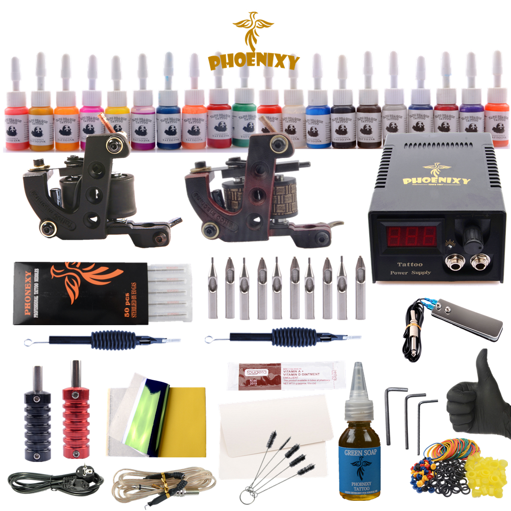 цена Tattoo Kits Liner Shader Machine Sets 20 Colors Black Tattoo Pigment Sets LCD Power Supply Permanent Makeup Complete Tattoo Kits