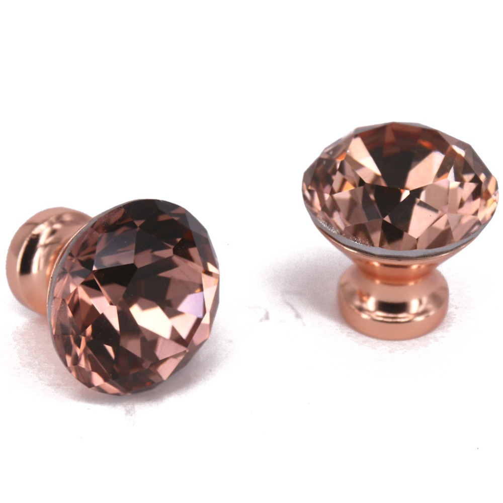 6PCS Dia 30mm Special Rose Gold K9 Crystal Cabinet Pulls Cupboard Handles Drawer Knobs Wardrobe Diamond Door Knobs Home Hardware