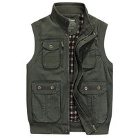 2018 New Arrival Sleeveless Jackets Cotton Vest Waistcoats Stand Collar Casual L~7XL Cargo Military Tanks Pockets Business