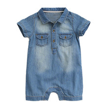 2019 Yaz Yeni Stil Kısa Kollu Bebek Tulum Denim Pamuk Yenidoğan giyisi Bebek Erkek Tulum Moda Bebek Giysileri