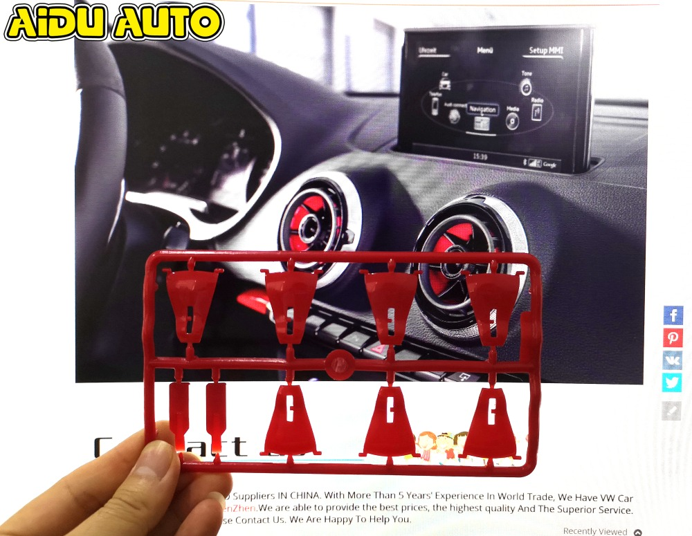 4PCS Interior Front Dashboard Red Air Condition Cover For Audi A3 S3 8V 2013 2014 2015 2016 Air Vent Outlet Replacement Trim in Interior Mouldings from Automobiles Motorcycles