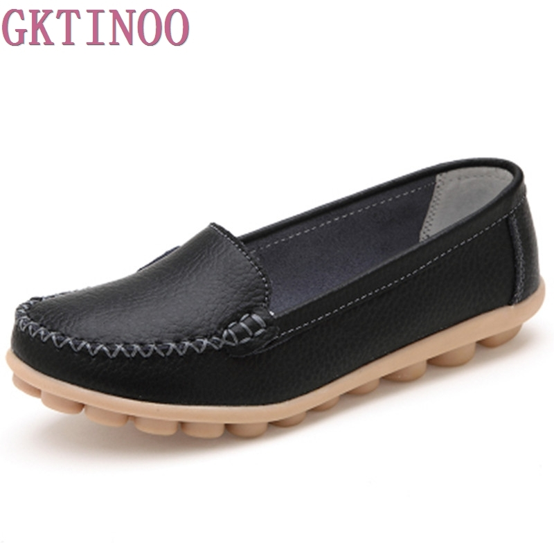 2017 Shoes Woman Genuine Leather Women Shoes Flats 5 Colors Buckle Loafers Slip On Women Casual Shoes Moccasins Plus Size 35-41
