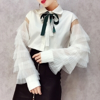 OL 2018 New Spring Black Turn Down Tie Collar Korean Lace Hollow Out Perspective Sleeve