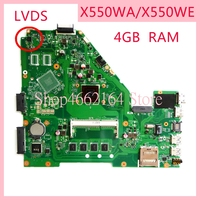 X550WA motherboard For ASUS X550WA 4GB RAM Laptop motherboard X550 X552W X550WE X550W D552W Notebook mainboard fully tested