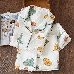 Image 5 - Pijamas de algodón de gasa de 100% de dibujos animados de flamencos, Conjunto de pijama de verano para mujer, manga larga fina, informal, ropa de dormir cómoda, pijamas de primavera para mujer