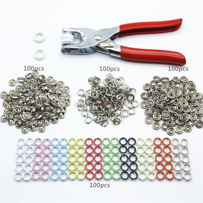 100 Sets 9,5mm 10 Farben Metall Prong Ring Tasten Drücken Studs Nähen Handwerk Verschluss Snap Zange Handwerk Werkzeug Tasten für Kleidung