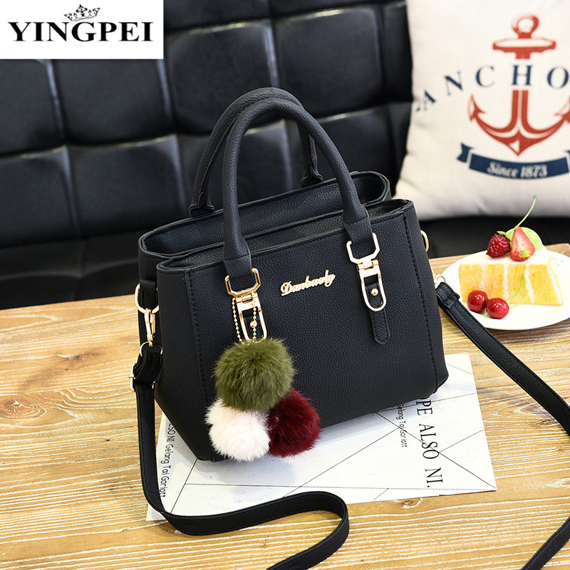 YINGPEI Women Bag PU Leather Top-Handle Handbag Fashion Solid Color Shoulder Messenger Crossbody Bags Large Casual Tote guapabien fashion old classical fringed solid color handbag tote shoulder messenger crossbody bag for women
