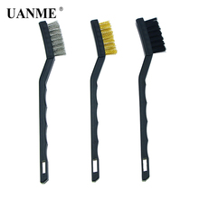 UANME 3 Pcs Metal Rust Clean Tools Mini Wire Brush Set Steel Brass Nylon Cleaning Polishing Detail Home Kitchen Kit