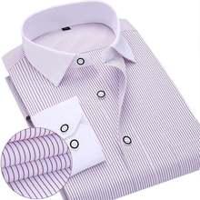 2017 New Spring Men Dress Shirts Patchwork Plaid Neck Long Sleeve Formal Business Pure Color Men Casual Shirt Plus Size S-4XL