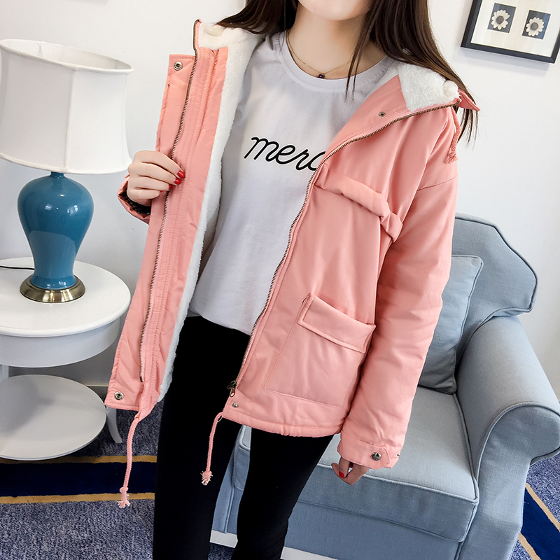 ФОТО 2017 New women jackets pink color cotton long sleeves hooded casual coats lambswool thick sheepskin pockets fashion women jacket