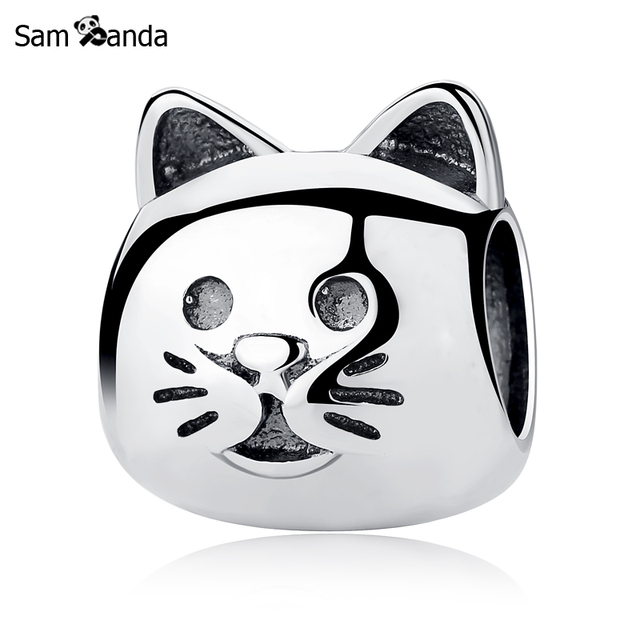 Cats Charms Genuine 925 Sterling Silver Cat with Pawprint Charm Animals Beads Charm fit for Euroepan Charms Bracelets JlNYEMdnqy
