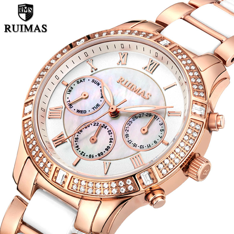 RUIMAS Luxury Women Watches Top Brand Fashion Ceramic Ladies Quartz Watch for Girl Clock Women Relogio Feminino Horloges Vrouwen ruimas leather women watches fashion luxury ladies quartz watch clock relogio feminino montre femme lover watch for girl