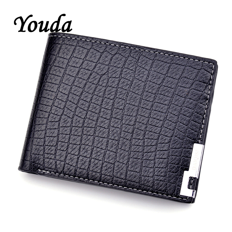 Youda PU Purse Wallets Crocodile-Pattern Short-Card Fashion 3-Fold Soft Men Package Classic