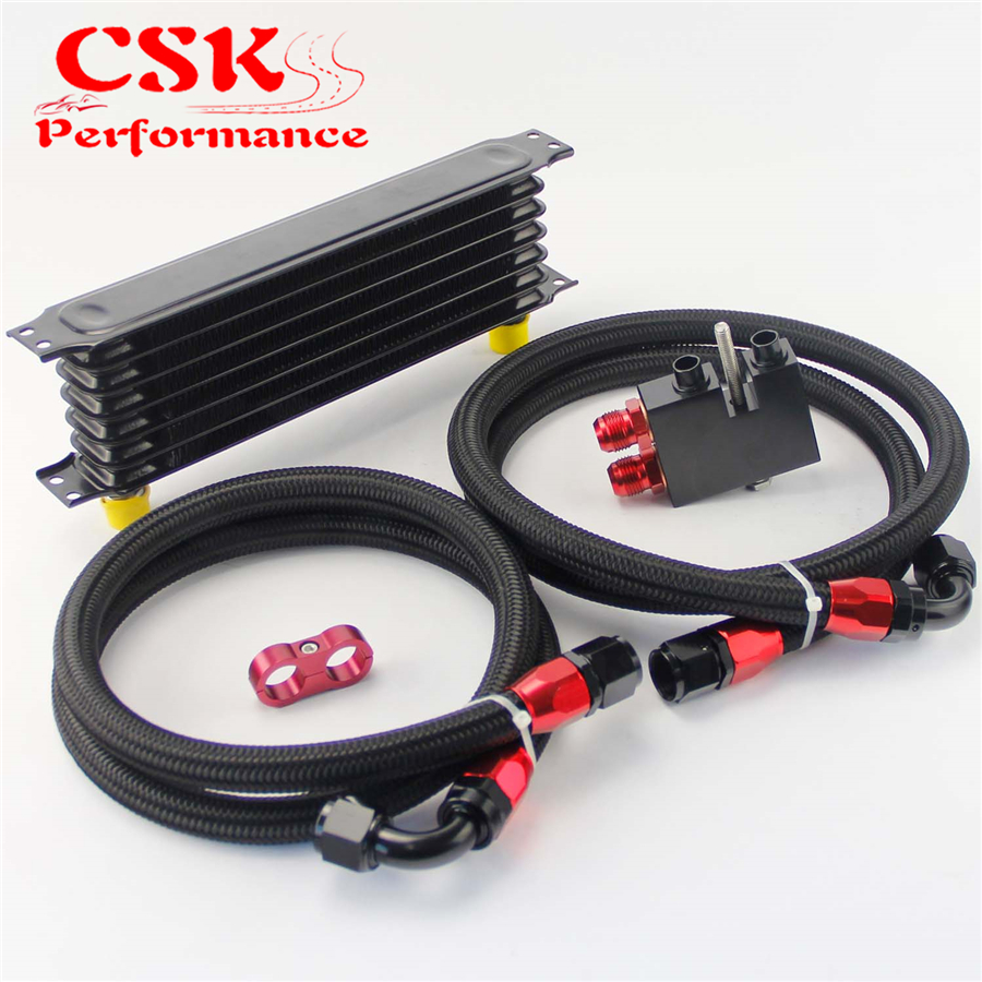цена на Fits For BMW N54 Twin Turbo 135i E82 335i E90 E92 E93 7 Row 262mm AN10 Trust Oil Cooler kit Black / Blue