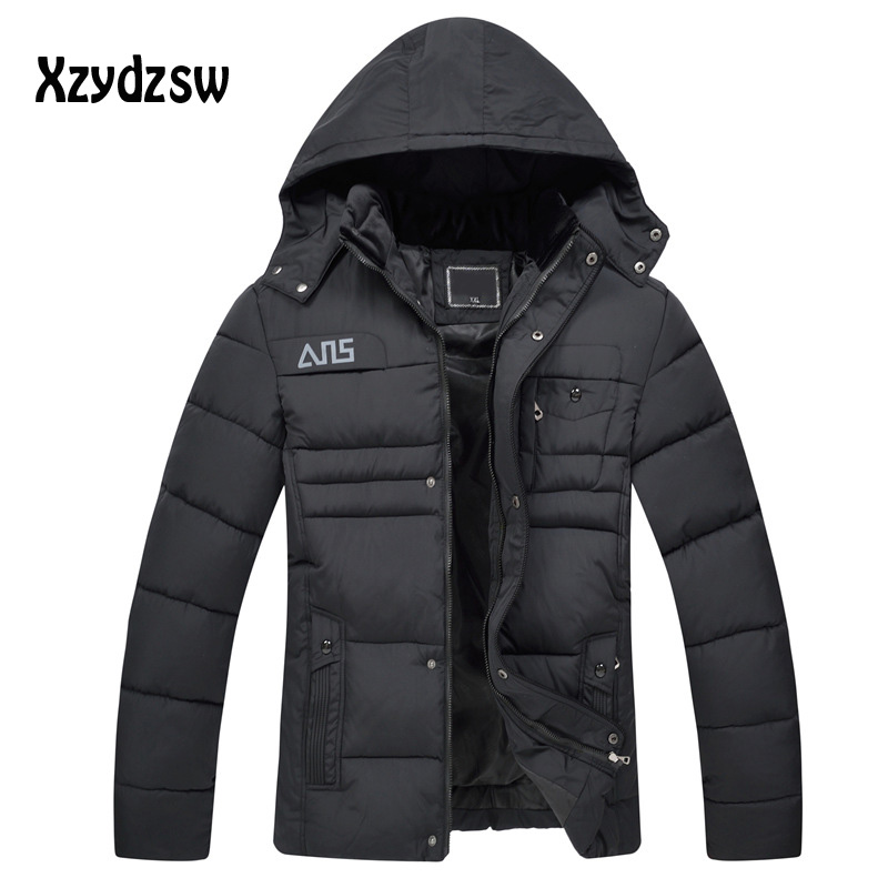 2016 Mens Winter Down Coat Thickening Fleece Hooded Thermal Wadded Jackets Casual Cotton Padded Men Outwear Parka Jacket