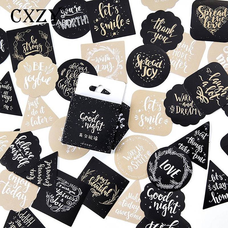 CXZY Cute English Blessing Sticker Scrapbooking Pack DIY Paper Seal Label Diary Bullet Journal Travel Gift Stationery Post 1T803