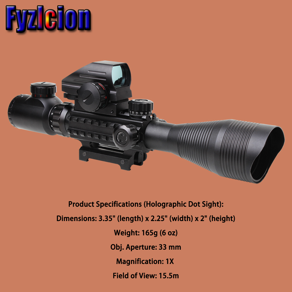 Fyzlicion Hunting Airsofts Riflescope 4-12X50EG Tactical Air Gun Red Dot Laser Sight Scope Holographic Optics Rifle Sight Scope tactical scope hunting optics riflescope 3 9x40 illuminated red laser riflescope with holographic dot combo gun weapon sight
