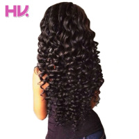 Hair Villa Remy Brazilian Deep Wave Bundles With Closure 3 Bundles Human Hair Weave 4 4