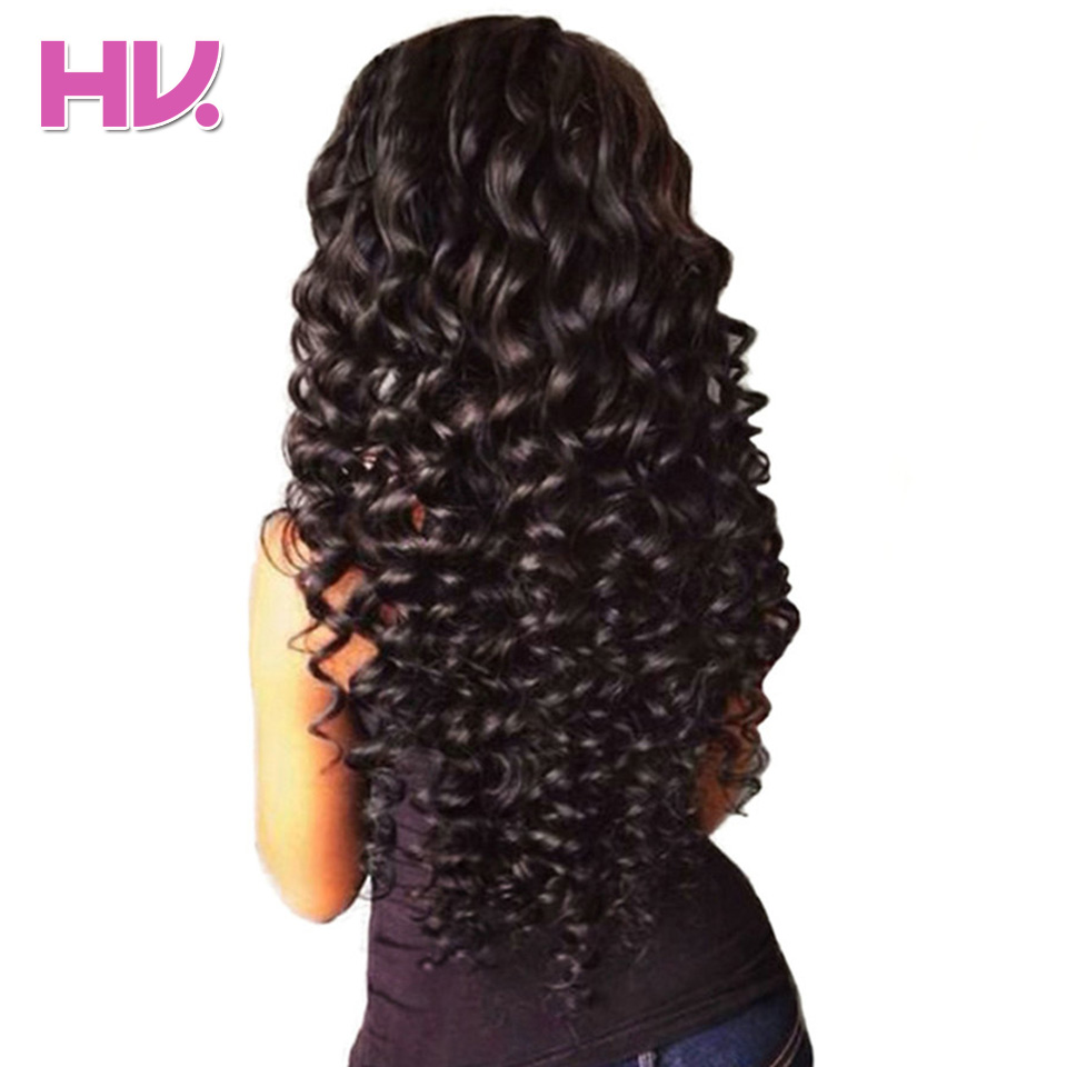Hair Villa Remy Brasilianske Deep Wave Bundles Med Closure 3 Bundles - Menneskelig hår (for svart)