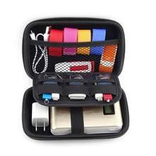 Urijk Zipper Earphone Case Leather Storage Box Hard Bag Carrying Waterproof For Coin Memory Card Portable USB Cable Organizer tanie tanio Plastikowe Nowoczesne Błyszczący Drut na słuchawki drut elektryczny Zaopatrzony ekologiczny składany Schowek Prostokąt