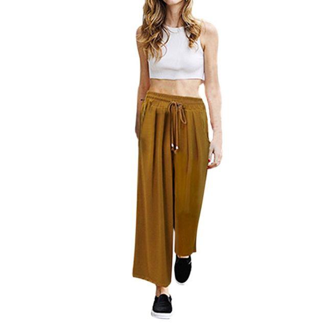 Verano Mujer Casual Ancho de La Pierna Palazzo Culottes Stretch Pantalones Pantalones Harem Flojo Más El Tamaño M-4XL 5XL