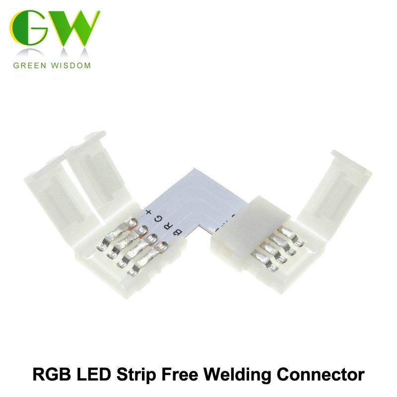 RGB LED Strip Connector 4pin 10mm L Shape / T Shape / X Shape Free Welding Connector 5pcs/lot.