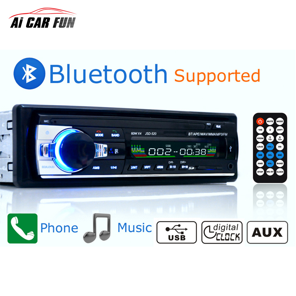 Авто Радио 12 В Bluetooth V2.0 автомобиля Радио jsd520 стерео в тире 1 DIN FM AUX Вход приемник SD USB MP3 MMC WMA автомобиль Радио плеер