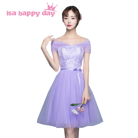 robe de mariage short strapless   bridesmaid     dresses   under 50 elegant tiers tulle   dress   lilac formal party ball gown girl H4025