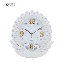 ASFULL Simple Wall Clock Wall Living Room for European Style Clocks Swing Fashion Creative Bedroom Muffler Quartz Wristwatches(China)