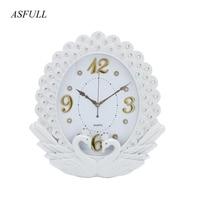 ASFULL Simple Wall Clock Wall Living Room for European Style Clocks Swing Fashion Creative Bedroom Muffler Quartz Wristwatches