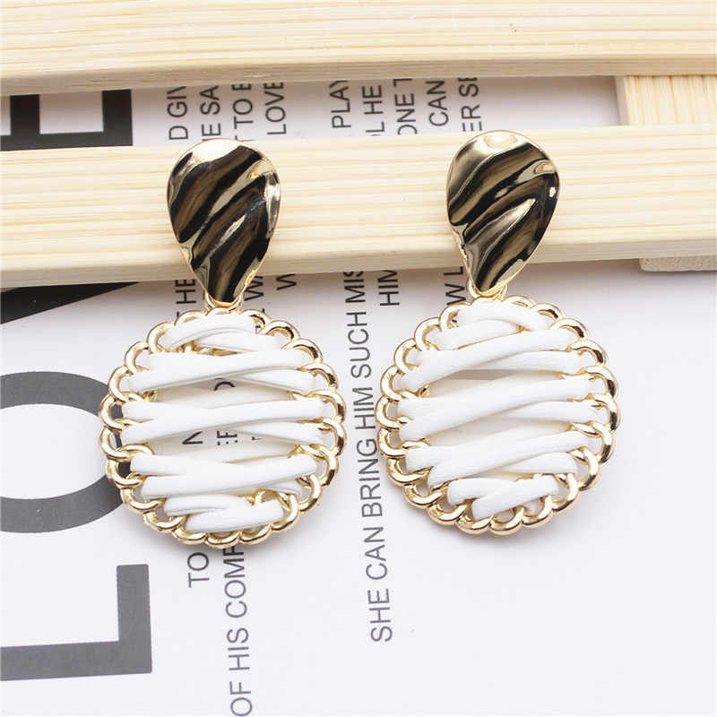 2019 New design fashion pop jewelry leather hand-knitted earrings sample with wave drop metal earrings
