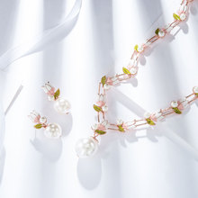 Viennois moda pérola jewery conjunto rosa ouro flor design simulado pérola colar e brinco conjunto de jóias para as mulheres conjunto de noiva
