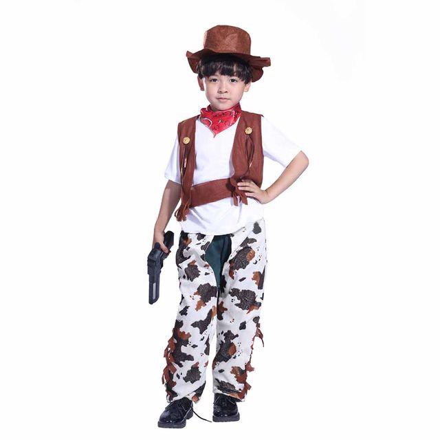 Boys Girls Cowboy Costume Set Gun Slinger Costume Fancy Dress Waistcoat Chaps Scarf and Hat Halloween Costumes for Kids  sc 1 st  Aliexpress & Online Shop Boys Girls Cowboy Costume Set Gun Slinger Costume Fancy ...