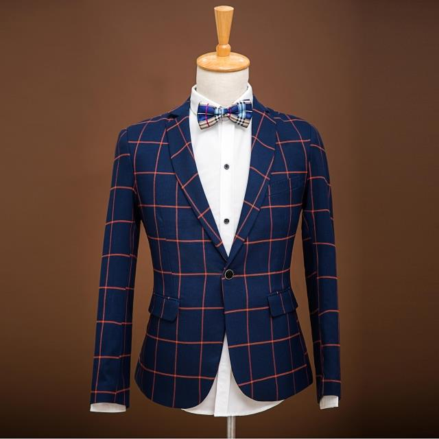 2017 Plus size Male Fashion Plaid business Casual blazers suit Male Slim suits set the groom formal dress Male singer stage wear 1