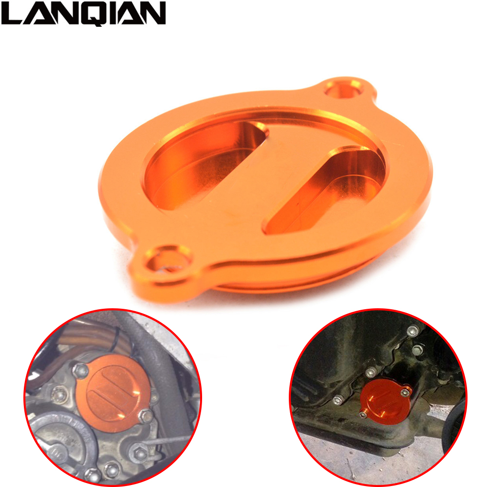 Orange Motorcycle Accessories CNC Aluminum Engine Oil Filter Cover Cap For KTM Duke 125 2012 2013 2014 2015 2016 Duke125 12 - 16 image