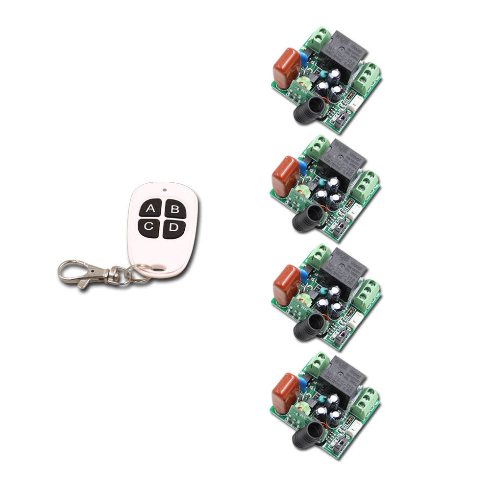ABCD Key Receiver&Transmitter RF Wireless Mini 220V Remote Control Switch 1CH Interruptor 10A Light Lamp LED SMD 315/433